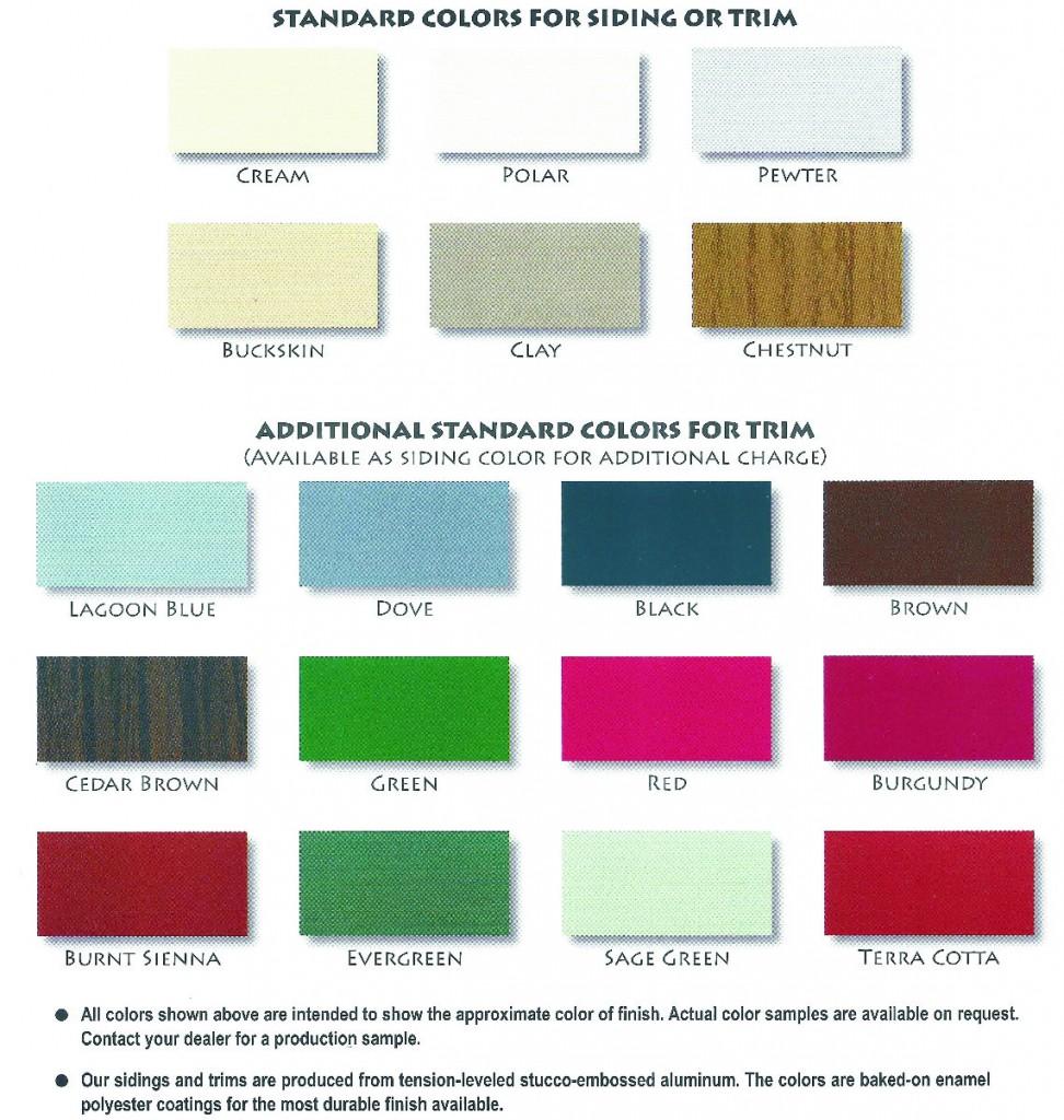 Probuilt Shed Color Chart
